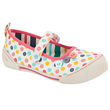 Buy John Lewis Girl Ola Polka Dot Mary Jane Shoes, White/Multi Online at johnlewis.com