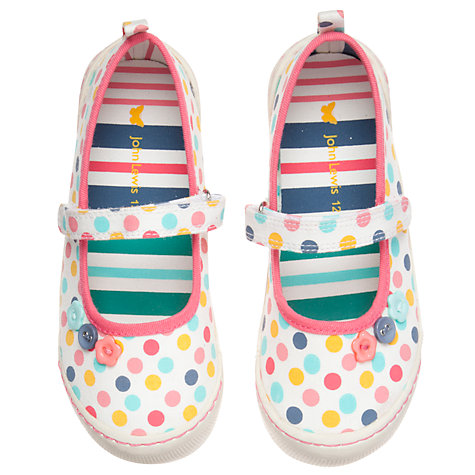 Buy John Lewis Ola Polka Dot Mary Jane Shoes, White/Multi Online at johnlewis.com