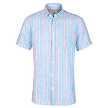 Buy John Lewis Wide Stripe Short Sleeve Linen Shirt, Blue/Pink Online at johnlewis.com