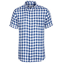 Buy John Lewis Large Short Sleeve Gingham Linen Shirt, Navy Online at johnlewis.com