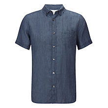 Buy John Lewis Fine Stripe Short Sleeve Linen Shirt, Navy Online at johnlewis.com