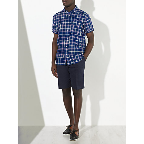 Buy John Lewis Royal Check Linen Shirt, Blue Online at johnlewis.com