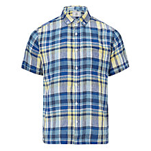 Buy John Lewis Madras Linen Check Short Sleeve Shirt, Blue Online at johnlewis.com