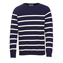 Buy John Lewis Cotton Breton Stripe Crew Neck Jumper, Navy Online at johnlewis.com