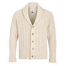 Buy John Lewis Chunky Cable Shawl Neck Cardigan, Natural Online at johnlewis.com