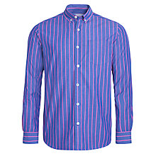 Buy John Lewis Wide Stripe Peached Cotton Long Sleeve Shirt, Blue/Pink Online at johnlewis.com