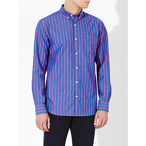 Buy John Lewis Wide Stripe Peached Cotton Long Sleeve Shirt Online at johnlewis.com