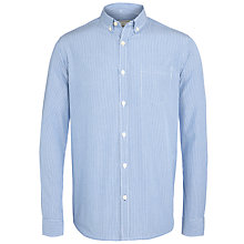 Buy John Lewis Fine Stripe Peached Cotton Long Sleeve Shirt, Cobalt Blue Online at johnlewis.com