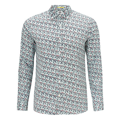 Buy Kin by John Lewis Microwave Print Shirt, Teal Online at johnlewis.com