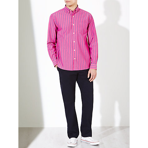 Buy John Lewis Wide Stripe Long Sleeve Shirt, Pink Online at johnlewis.com