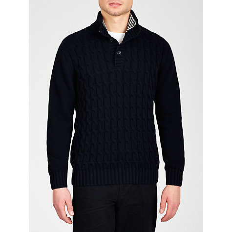Buy John Lewis Chunky Cable Button Neck Jumper, Navy Online at johnlewis.com