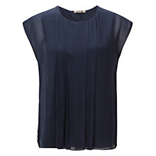 Buy Jigsaw Chiffon Pleat Top, Navy Online at johnlewis.com