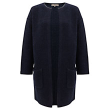 Buy Jigsaw Ambril Wool Collarless Coat, Navy Online at johnlewis.com