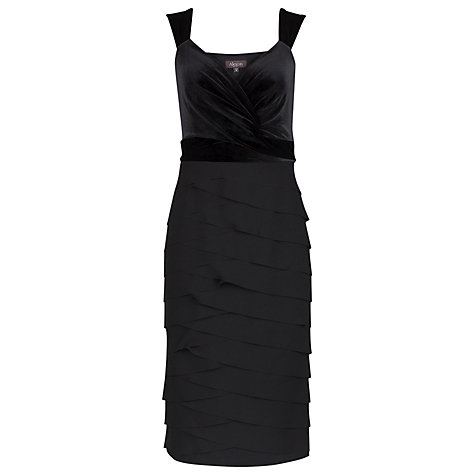 Buy Alexon Crepe and Velvet Dress, Black Online at johnlewis.com