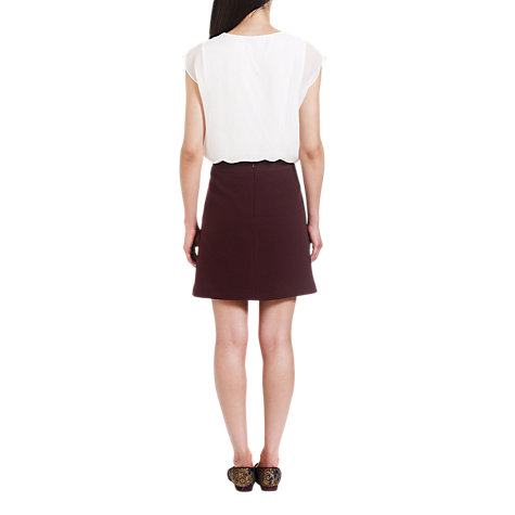 Buy Jigsaw Soft Tweed Mini Skirt, Burgundy Online at johnlewis.com