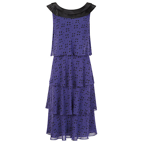 Buy Jacques Vert Tiered Printed Dress, Purple Online at johnlewis.com