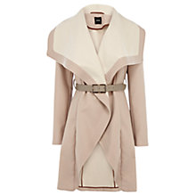 Buy Oasis Two Tone Drape Coat, Mid Neutral Online at johnlewis.com