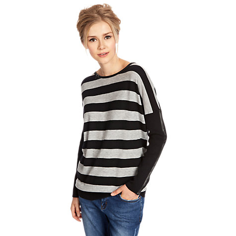Buy Oasis Oversize Stripe Jumper, Multi Grey Online at johnlewis.com