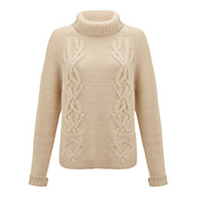 Buy Jigsaw Chunky Cable Knit Jumper, Cream Online at johnlewis.com