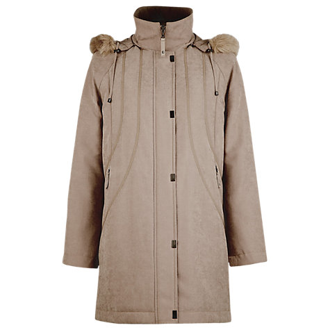 Buy Jacques Vert Suedette Parka Mac, Neutral Online at johnlewis.com