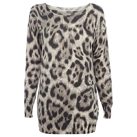 Buy Oasis Abstract Animal Jumper, Mid Grey Online at johnlewis.com