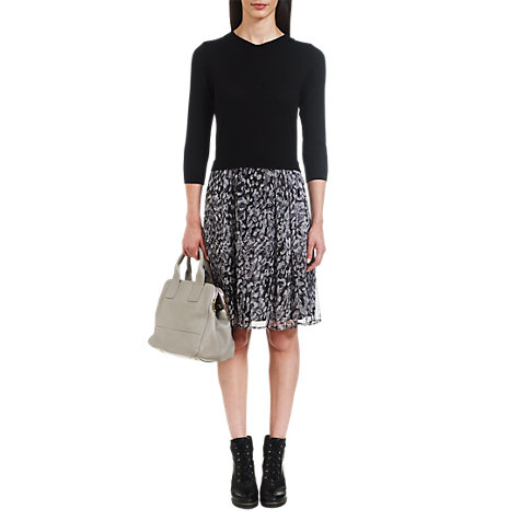 Buy Jigsaw Peter Pan Collar Leopard Skirt Dress, Black Online at johnlewis.com