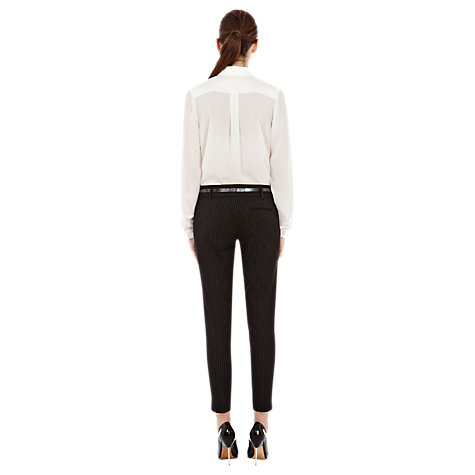 Buy Warehouse Pinstripe Trousers, Black Online at johnlewis.com