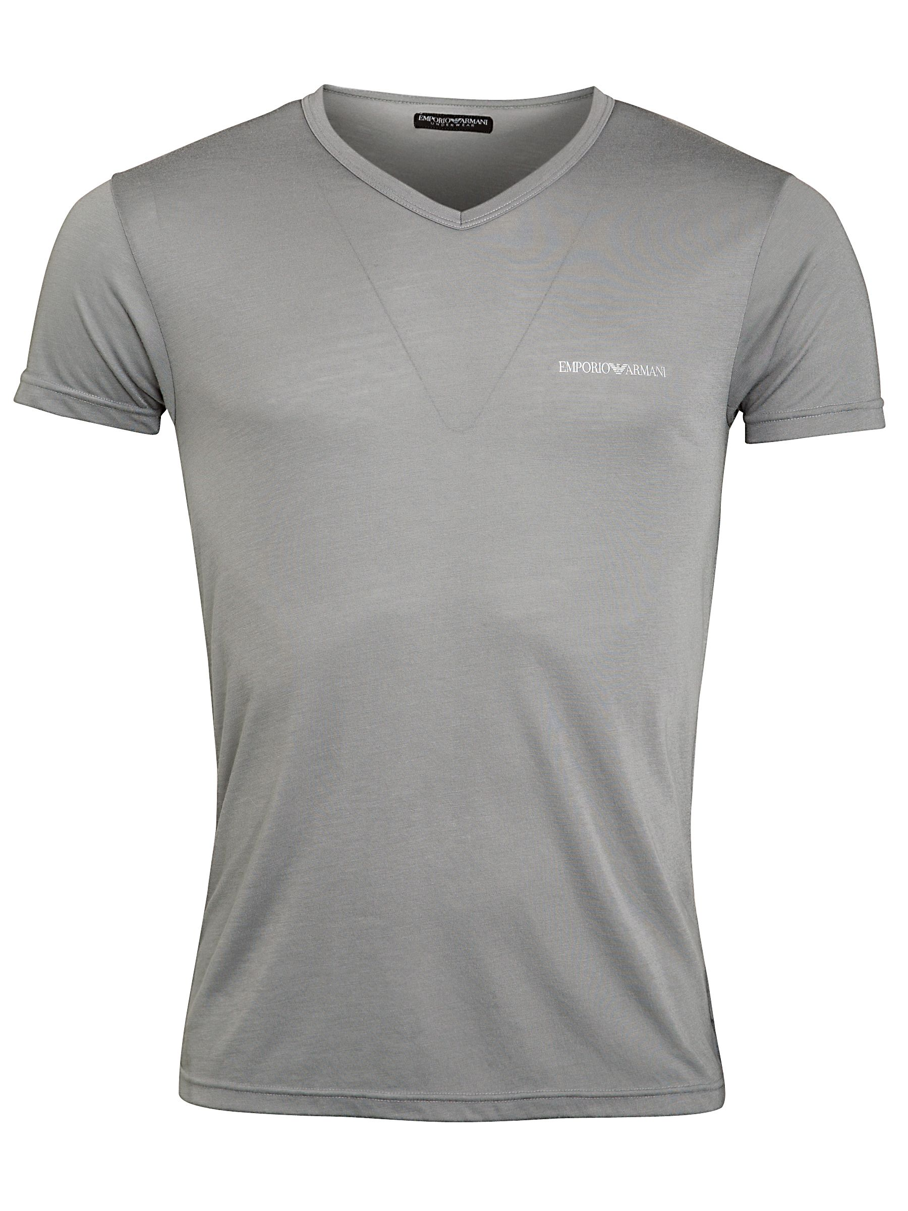 Emporio Armani V-Neck Cotton T-Shirt, Grey
