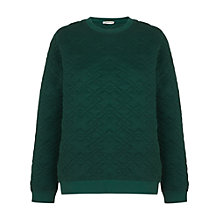 Buy Whistles Cara Cross Quilted Sweatshirt, Green Online at johnlewis.com