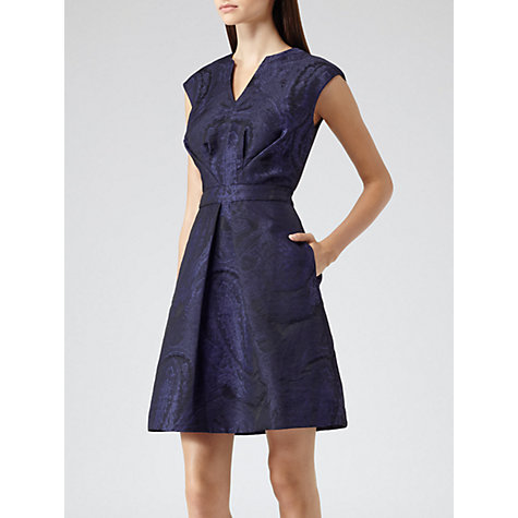 Buy Reiss Nipped Waist Jacquard Dress, Navy/Black Online at johnlewis.com