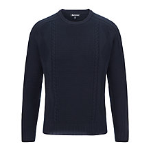 Buy Aquascutum Cable Knit Jumper, Navy Online at johnlewis.com