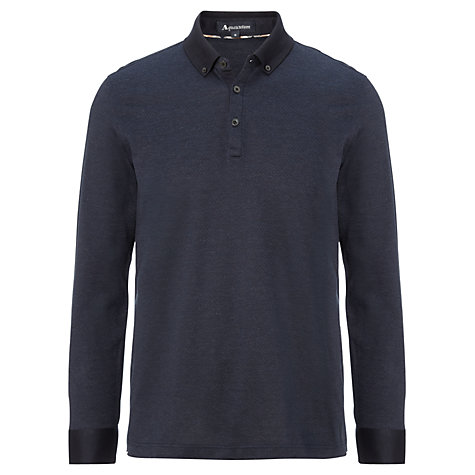 Buy Aquascutum Birdseye Long Sleeved Polo Shirt, Blue/Navy Online at johnlewis.com