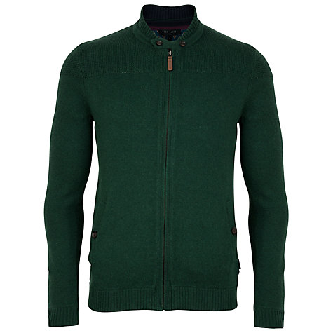 Buy Ted Baker Hawkhed Baseball Zip-Up Cardigan, Dark Green Online at johnlewis.com