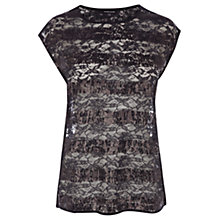 Buy Warehouse Sequin Lace Top, Midnight Online at johnlewis.com