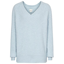 Buy Reiss Willaston V-Neck Knit, Pale Blue Online at johnlewis.com