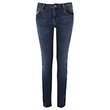 Buy Warehouse Denim Quilted Skinny Jeans, Indigo Online at johnlewis.com