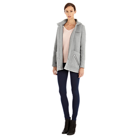 Buy Warehouse Check Lined Duffle Coat, Light Grey Online at johnlewis.com