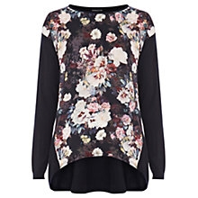Buy Warehouse Night Flowery Front Jumper, Navy Online at johnlewis.com