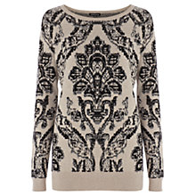 Buy Warehouse Jacquard Pattern Jumper, Beige Online at johnlewis.com
