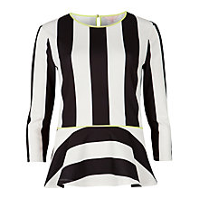 Buy Ted Baker Stripe Peplum Top, Black/White Online at johnlewis.com