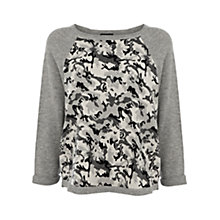 Buy Warehouse Camo Jacquard Jumper, Light grey Online at johnlewis.com