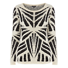 Buy Warehouse Fluffy Geo Jumper, Beige Online at johnlewis.com