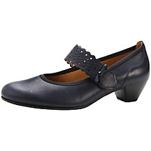 Buy Gabor Attraction Leather Scalloped Bow Court Shoes, Navy Online at johnlewis.com