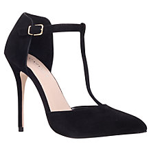Buy Carvela Glitz Suede T-Bar Stiletto Court Shoes, Blue Online at johnlewis.com