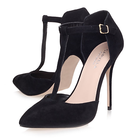 Buy Carvela Glitz Suede T-Bar Stiletto Court Shoes, Black Online at johnlewis.com