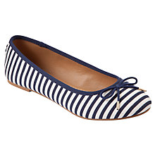 Buy John Lewis Gino Striped Canvas Ballerina Pumps, Navy / White Online at johnlewis.com
