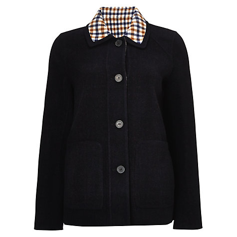Buy Aquascutum Reversible Check Coat, Navy Online at johnlewis.com