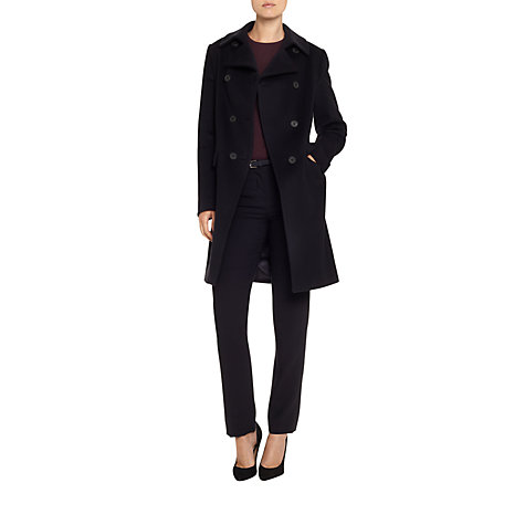 Buy Aquascutum Double Breasted Coat, Navy Online at johnlewis.com