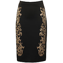 Buy True Decadence Floral Baroque Skirt, Black/Gold Online at johnlewis.com
