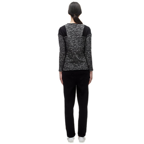 Buy Whistles Maria Slim Textured Top, Black Online at johnlewis.com